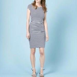 Boden Ruched Striped Stretch Midi Jersey Dress 10